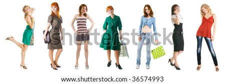 Group of young beautiful girls on shopping, isolated on white background - stock photo