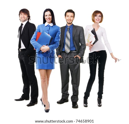 Group of young business people, isolated on white