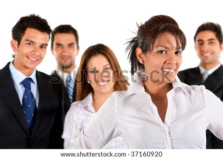Group of young business people isolated over white