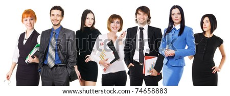 Group of young business people on white background - stock photo