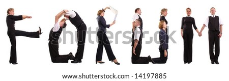 Group of young business people standing over white forming FORUM word - stock photo