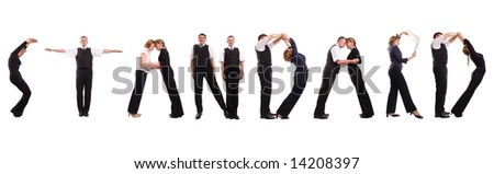 Group of young business people standing over white forming STANDARD word
