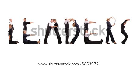 Group of young business people standing over white to form Leaders word