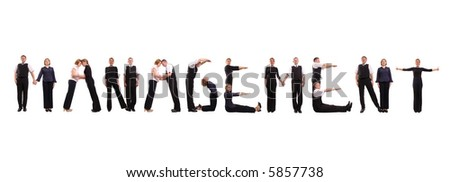 Group of young business people standing over white to form Management word - stock photo