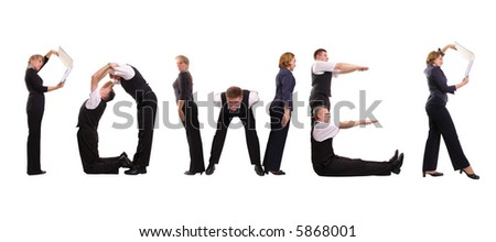 Group of young business people standing over white to form Power word - stock photo