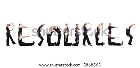 Group of young business people standing over white to form Resources word - stock photo