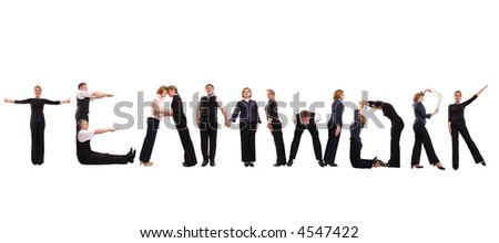 Group of young business people standing over white to form teamwork word - stock photo