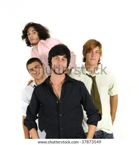 Group of young casual male friends standing together - isolated on white - stock photo