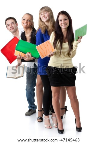 Group of young cheerful people with writing-books on a white background. Students. - stock photo