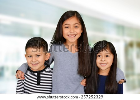 Group of young children who are at school - stock photo