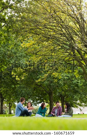 Group of young college students sitting on grass in the park - stock photo