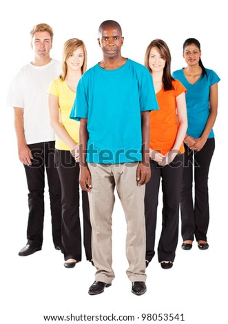 group of young diverse people on white background - stock photo