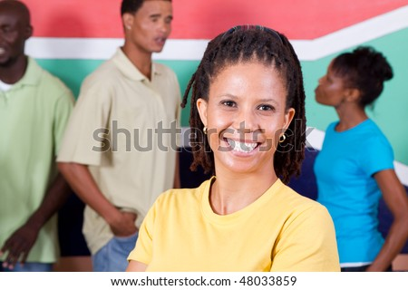 group of young diversity people in front of South African flag, 2010 Fifa world cup concept