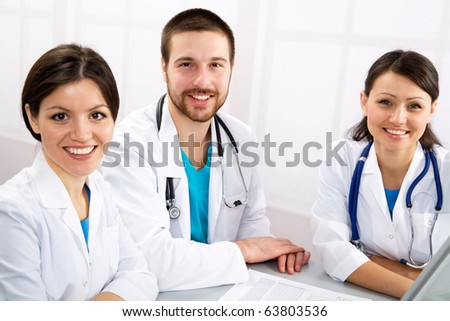Group of young doctors - stock photo