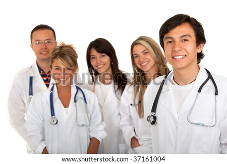 Group of young doctors isolated over white - stock photo