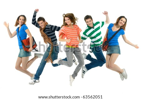 group of young friends jump together with fun - stock photo