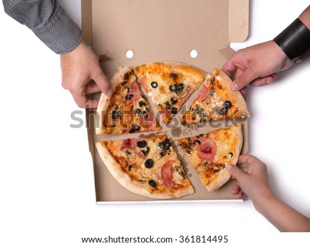 Group of young friends taking pizza slices, top view isolated on white background  - stock photo