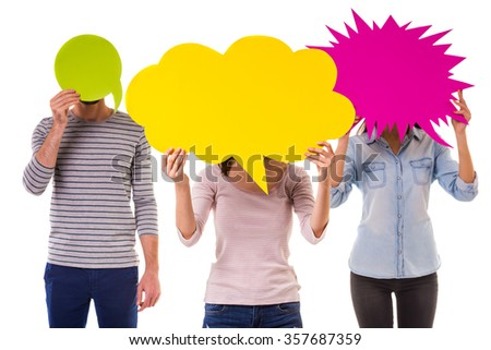 Group of young gay people hold colored bubble for text isolated on white background Bubble for text
