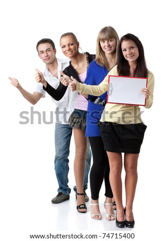 Group of young happy people hitchhiking on a white background.
