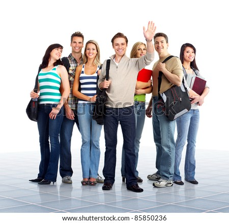 Group of young happy people students. Education. - stock photo