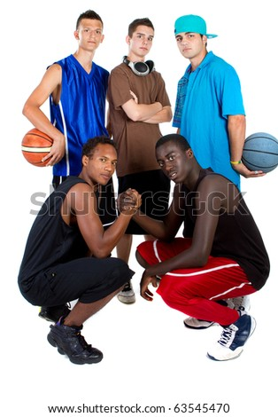 Group of young interracial men posing as a basketball team. Very hip, young and fresh crowd. - stock photo
