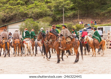 Group Of Young Latin Men Riding Horses Expecting Show Time, South America  - stock photo