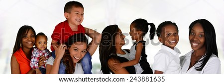 Group of young mothers with their children - stock photo