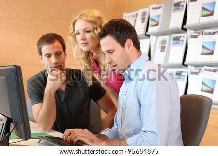 Group of young people attending training course - stock photo