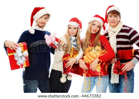 Group of young people celebrating christmas. - stock photo