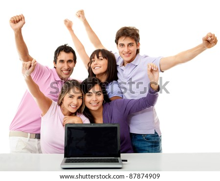 Group of young people celebrating their online success - isolated over white - stock photo