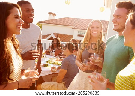 Group Of Young People Enjoying Outdoor Summer Meal - stock photo