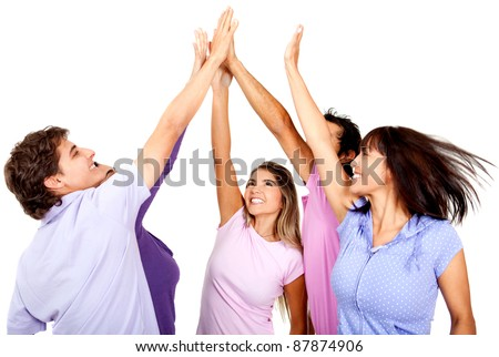 Group of young people giving a high-five, isolated over a white background - stock photo
