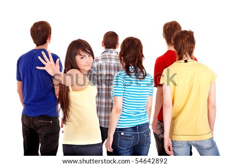 Group of young people go away. Isolated. - stock photo