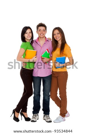 Group of young people, happy smiling students standing holding notebooks, full length portrait of friends isolated on white background - stock photo