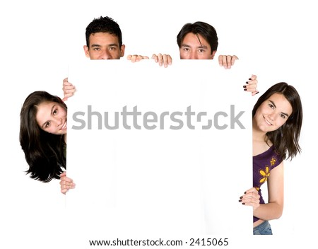 group of young people holding a white banner over a white background - stock photo