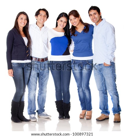 Group of young people hugging - isolated over a white background - stock photo