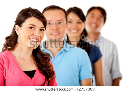 Group of young people in a row ? isolated over a white background - stock photo