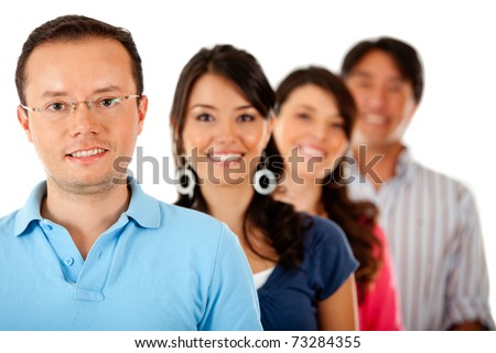 Group of young people in a row � isolated over a white background - stock photo