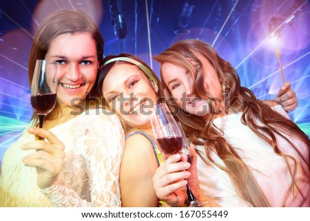 group of young people in club - stock photo
