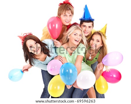 Group of young people in party hat holding balloon. Isolated. - stock photo