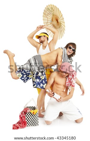 Group of young people in summer clothes. Smile and laugh. - stock photo