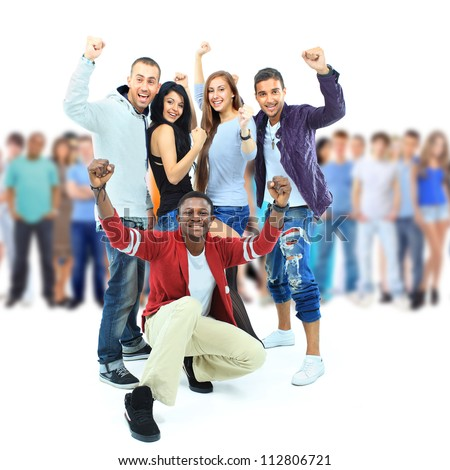 Group of young people. Isolated on white - stock photo