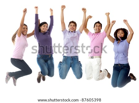 Group of young people jumping and looking excited - isolated over white - stock photo