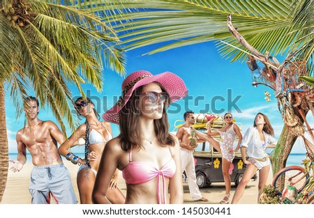 Group of young people on holidays at the tropical beach Travel Concept - stock photo