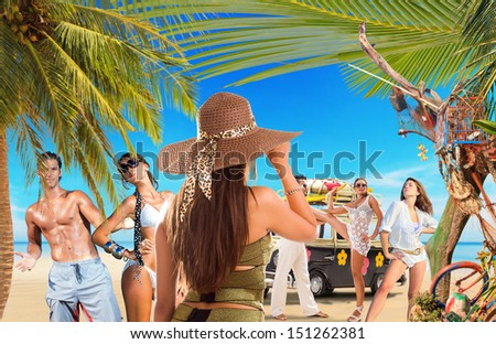 Group of Young people on the beach Travel concept - stock photo