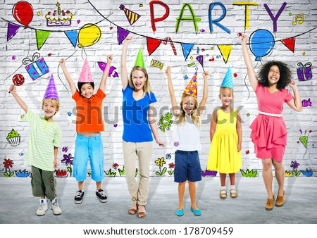 Group of Young People Partying and Having Fun - stock photo