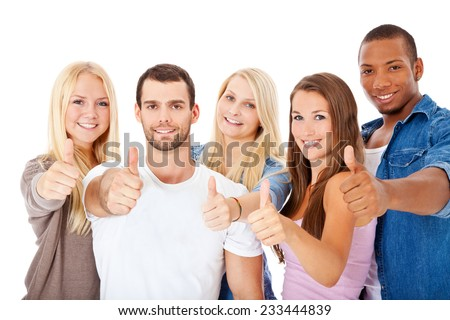 Group of young people showing thumbs up. All on white background. - stock photo