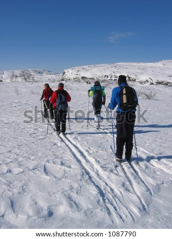 Group of young people skiing in the mountains