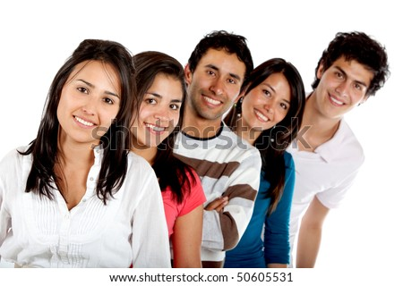 Group of young people smiling isolated over a white background