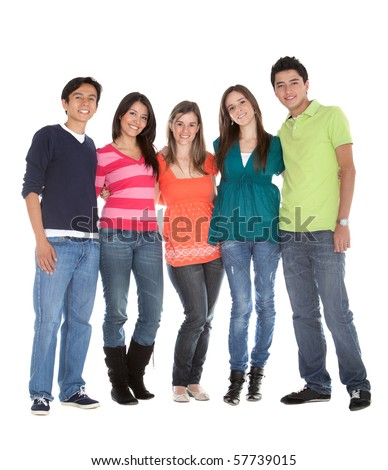 Group of young people smiling - isolated over a white background - stock photo